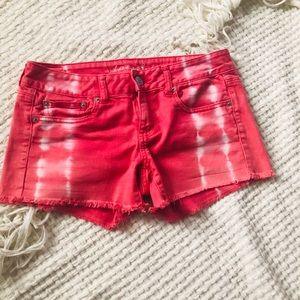 American Eagle pink & white denim shorts